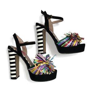 Betsey Johnson Mandy Black Mult Heels